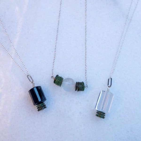 Group of three Moldavite Manifestation Collection necklaces